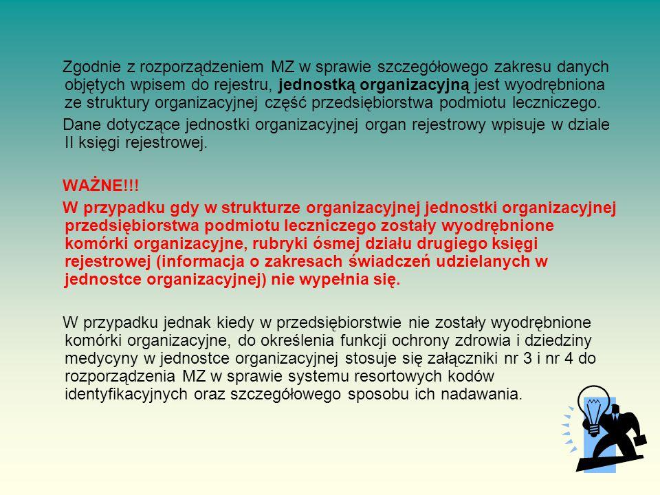 Zgodnie z rozporządzeniem MZ w sprawie szczegółowego zakresu danych objętych wpisem do rejestru, jednostką organizacyjną jest wyodrębniona ze struktury organizacyjnej część przedsiębiorstwa podmiotu leczniczego.