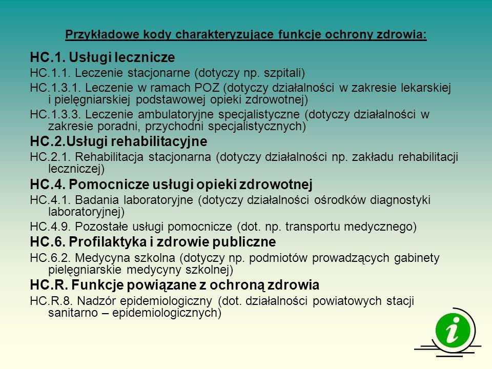 Przykładowe kody charakteryzujące funkcje ochrony zdrowia: HC.1.