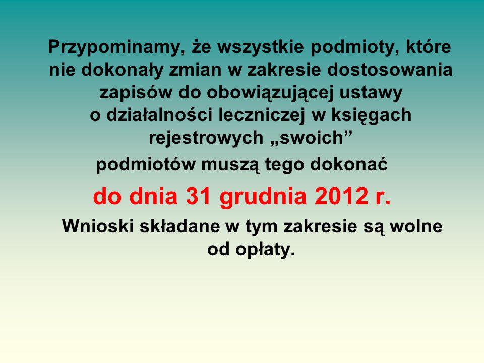 """Przypominamy, że wszystkie podmioty, które nie dokonały zmian w zakresie dostosowania zapisów do obowiązującej ustawy o działalności leczniczej w księgach rejestrowych """"swoich podmiotów muszą tego dokonać do dnia 31 grudnia 2012 r."""