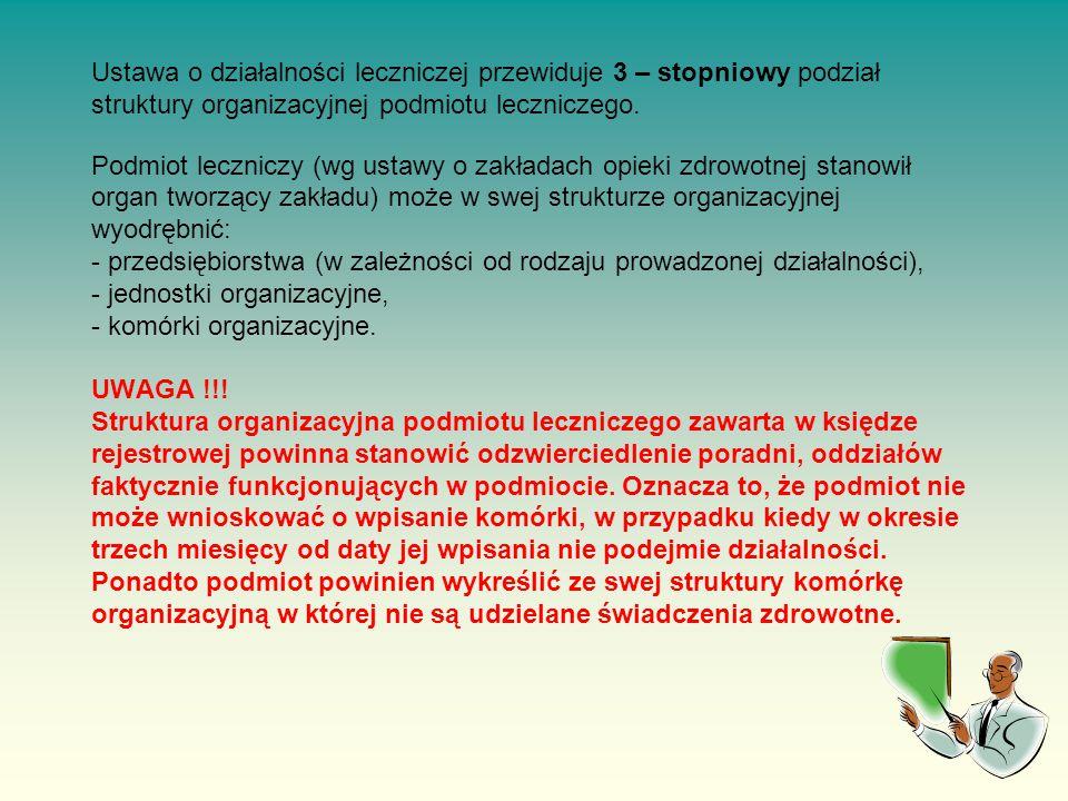 Ustawa o działalności leczniczej przewiduje 3 – stopniowy podział struktury organizacyjnej podmiotu leczniczego.