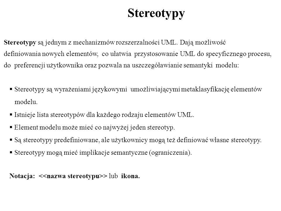 Stereotypy Stereotypy są jednym z mechanizmów rozszerzalności UML.