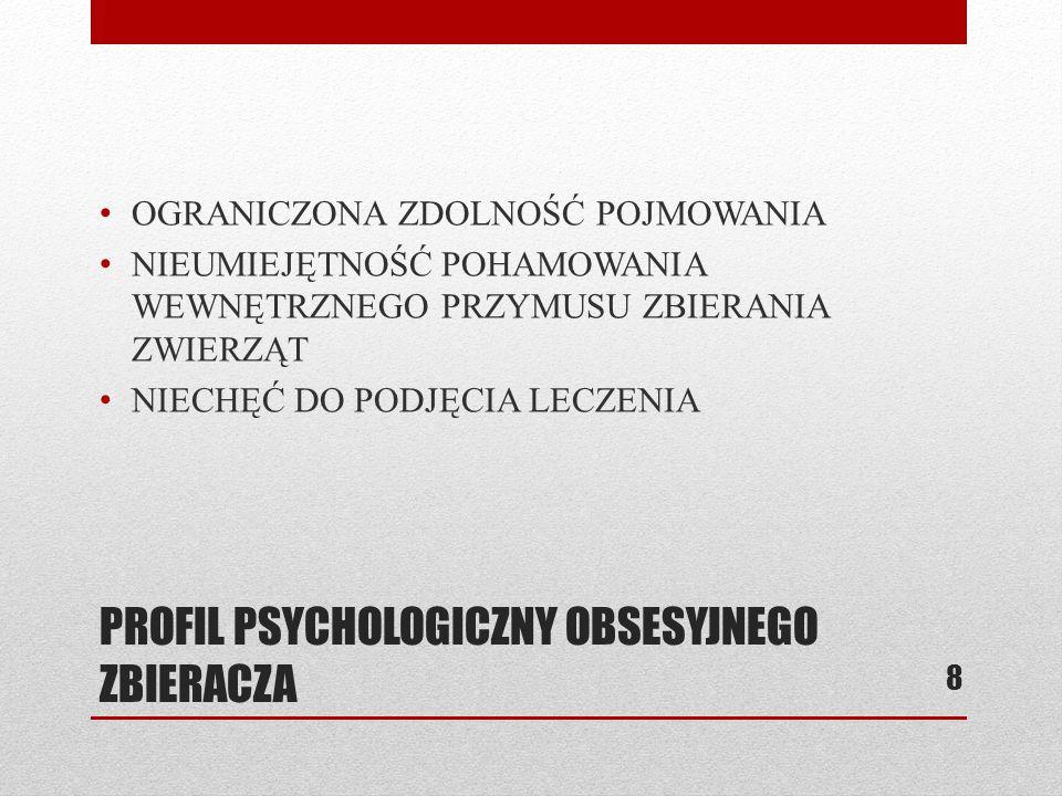 PROFIL PSYCHOLOGICZNY OBSESYJNEGO ZBIERACZA OGRANICZONA ZDOLNOŚĆ POJMOWANIA NIEUMIEJĘTNOŚĆ POHAMOWANIA WEWNĘTRZNEGO PRZYMUSU ZBIERANIA ZWIERZĄT NIECHĘ