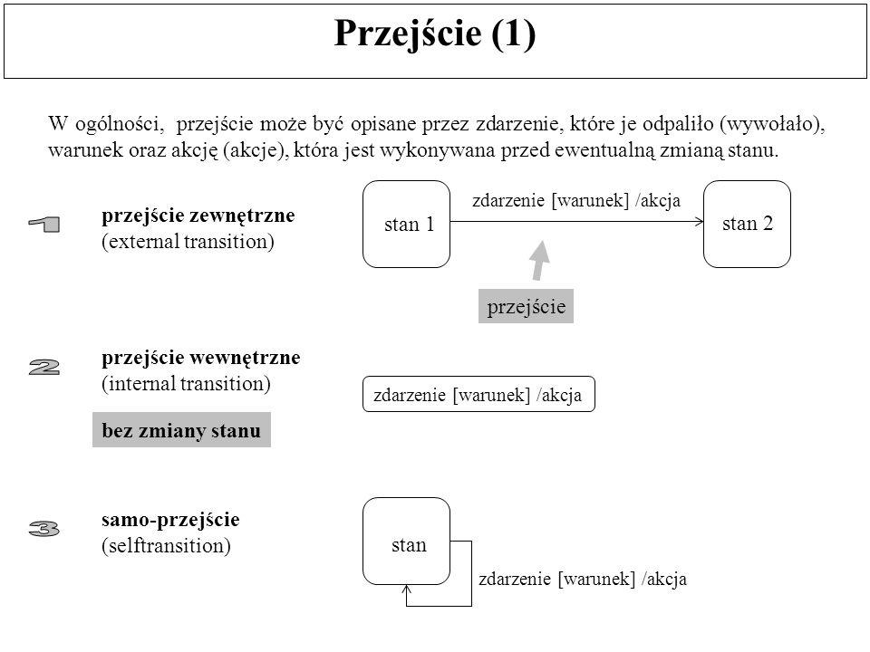 Przejście (1) W ogólności, przejście może być opisane przez zdarzenie, które je odpaliło (wywołało), warunek oraz akcję (akcje), która jest wykonywana