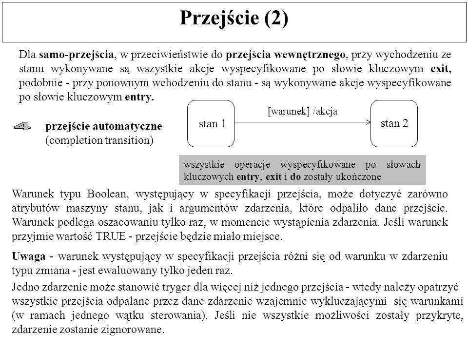 Przejście (2) Dla samo-przejścia, w przeciwieństwie do przejścia wewnętrznego, przy wychodzeniu ze stanu wykonywane są wszystkie akcje wyspecyfikowane