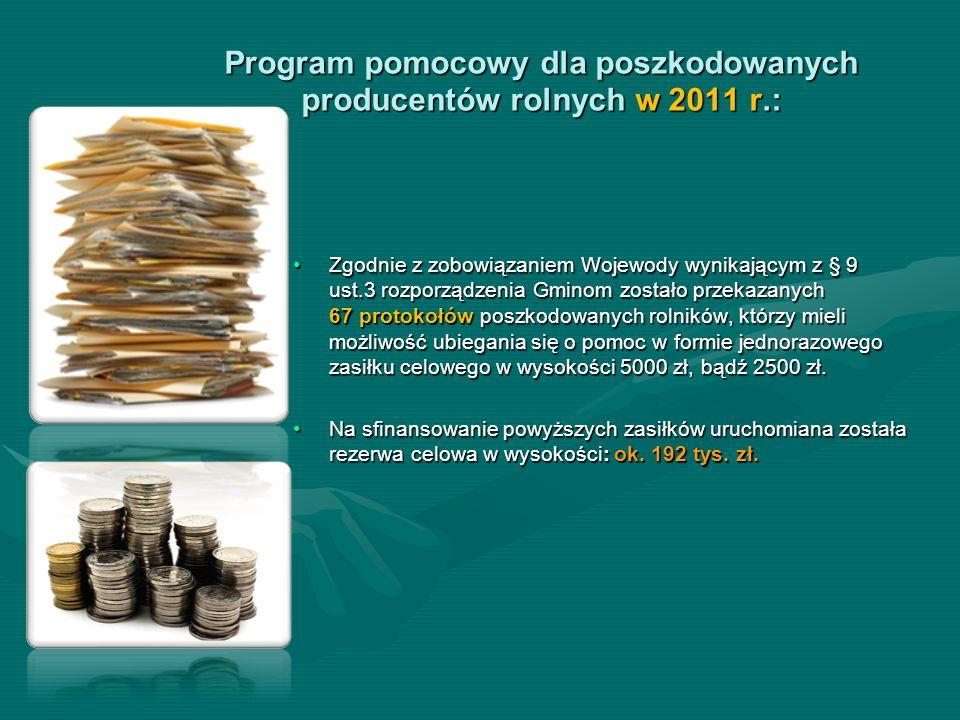 Program pomocowy dla poszkodowanych producentów rolnych w 2011 r.: Zgodnie z zobowiązaniem Wojewody wynikającym z § 9 ust.3 rozporządzenia Gminom zost