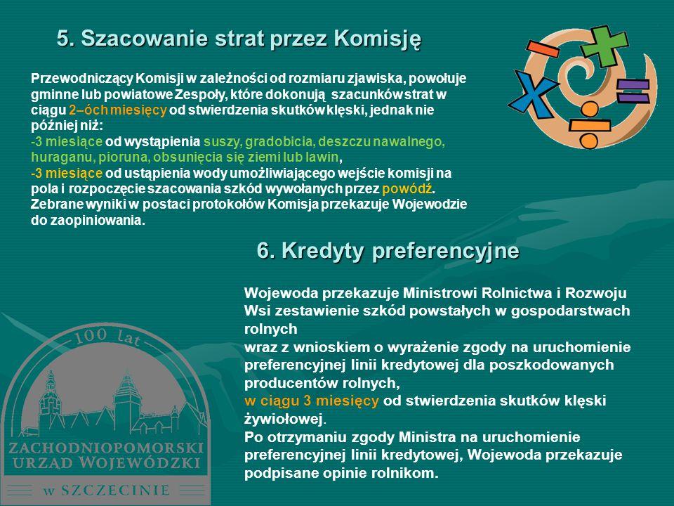 5. Szacowanie strat przez Komisję Przewodniczący Komisji w zależności od rozmiaru zjawiska, powołuje gminne lub powiatowe Zespoły, które dokonują szac