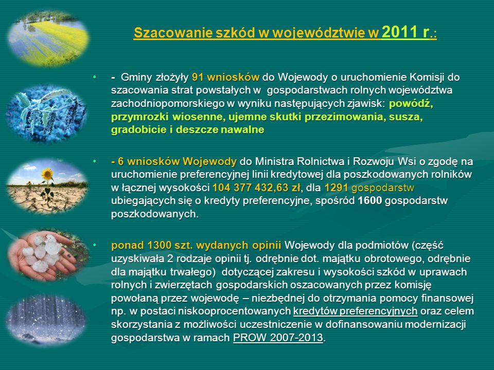 Szacowanie szkód w województwie w 2011 r.: - Gminy złożyły 91 wniosków do Wojewody o uruchomienie Komisji do szacowania strat powstałych w gospodarstw
