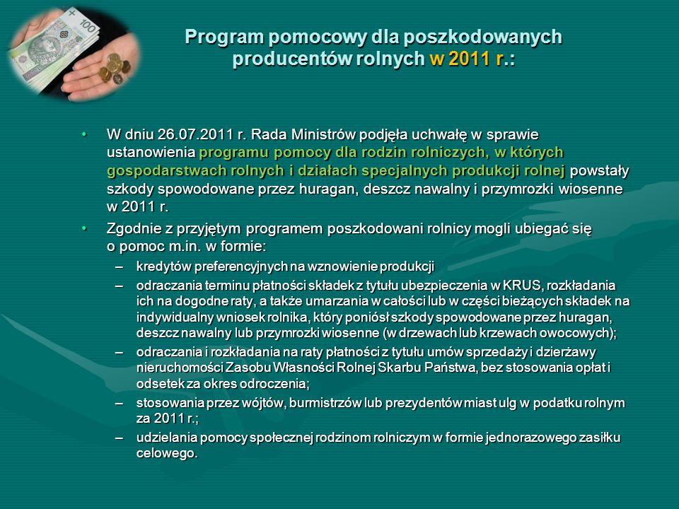 Program pomocowy dla poszkodowanych producentów rolnych w 2011 r.: W dniu 26.07.2011 r. Rada Ministrów podjęła uchwałę w sprawie ustanowienia programu