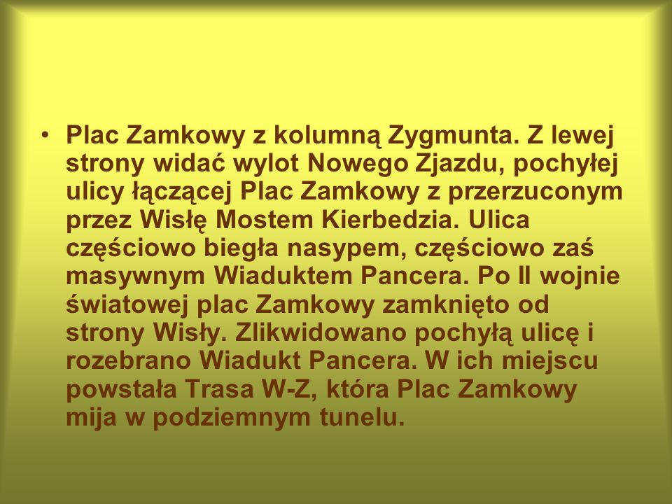 Plac Zamkowy z kolumną Zygmunta.