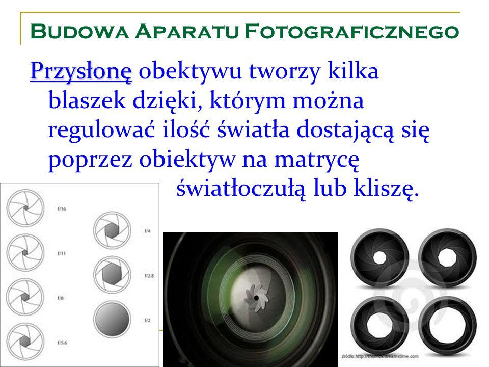 Budowa Aparatu Fotograficznego Przysłonę Przysłonę obektywu tworzy kilka blaszek dzięki, którym można regulować ilość światła dostającą się poprzez ob