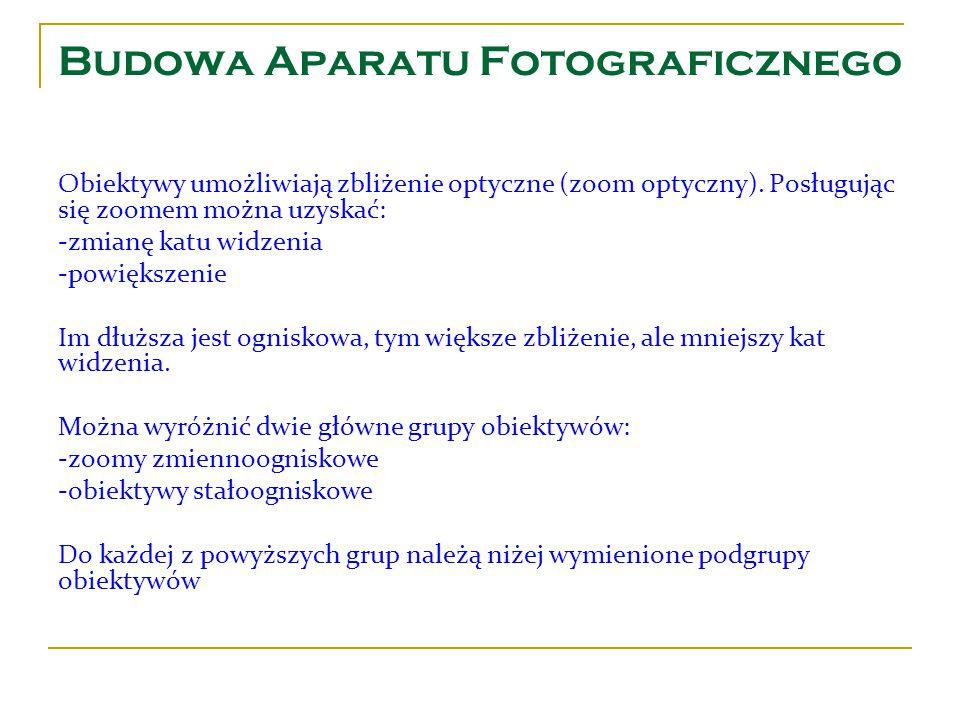 Budowa Aparatu Fotograficznego Obiektywy umożliwiają zbliżenie optyczne (zoom optyczny). Posługując się zoomem można uzyskać: -zmianę katu widzenia -p