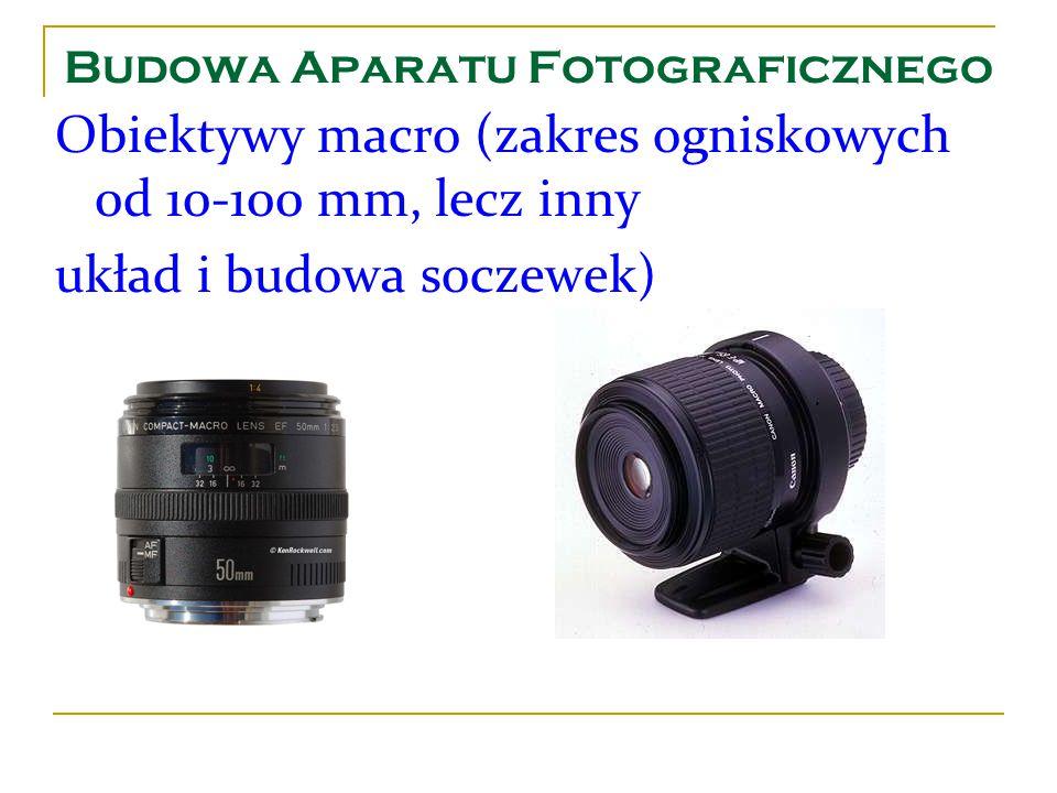 Budowa Aparatu Fotograficznego Obiektywy macro (zakres ogniskowych 0d 10-100 mm, lecz inny układ i budowa soczewek)