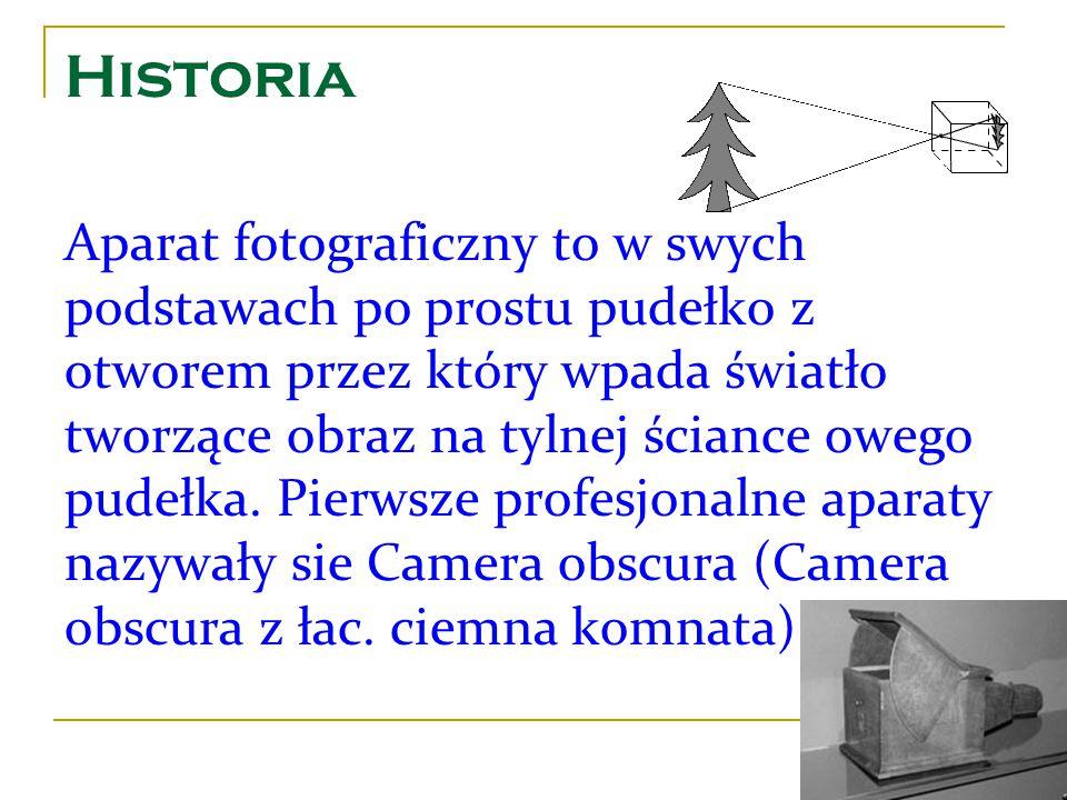 Historia Aparat fotograficzny to w swych podstawach po prostu pudełko z otworem przez który wpada światło tworzące obraz na tylnej ściance owego pudeł