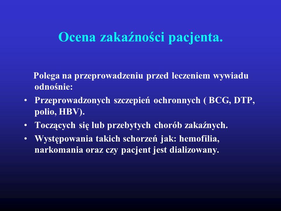 Ocena zakaźności pacjenta. Polega na przeprowadzeniu przed leczeniem wywiadu odnośnie: Przeprowadzonych szczepień ochronnych ( BCG, DTP, polio, HBV).