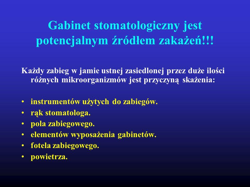 Gabinet stomatologiczny jest potencjalnym źródłem zakażeń!!! Każdy zabieg w jamie ustnej zasiedlonej przez duże ilości różnych mikroorganizmów jest pr