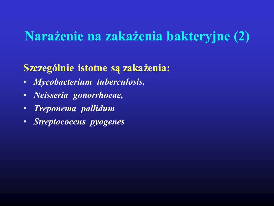Narażenie na zakażenia bakteryjne (2) Szczególnie istotne są zakażenia: Mycobacterium tuberculosis, Neisseria gonorrhoeae, Treponema pallidum Streptoc