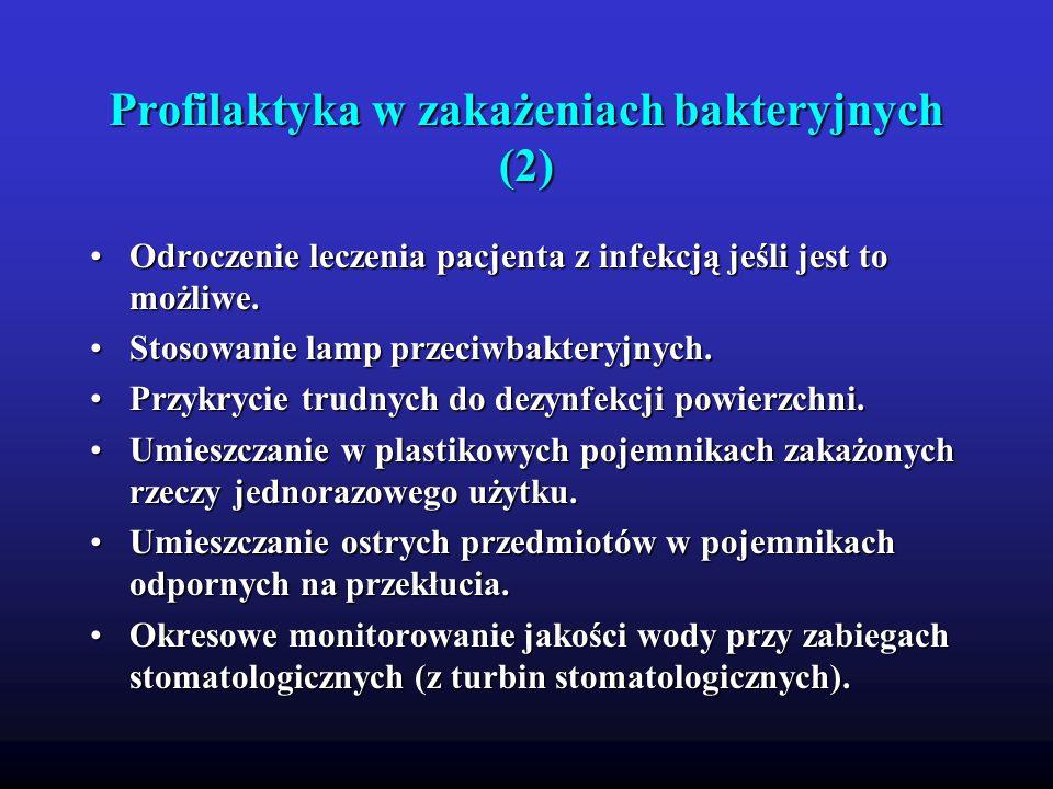 Profilaktyka w zakażeniach bakteryjnych (2) Odroczenie leczenia pacjenta z infekcją jeśli jest to możliwe.Odroczenie leczenia pacjenta z infekcją jeśl