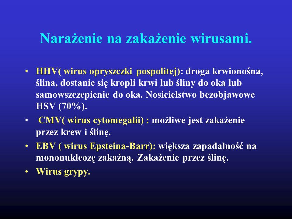 Narażenie na zakażenie wirusami. HHV( wirus opryszczki pospolitej): droga krwionośna, ślina, dostanie się kropli krwi lub śliny do oka lub samowszczep