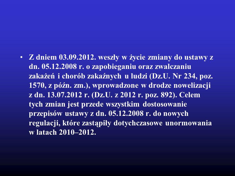 Z dniem 03.09.2012. weszły w życie zmiany do ustawy z dn. 05.12.2008 r. o zapobieganiu oraz zwalczaniu zakażeń i chorób zakaźnych u ludzi (Dz.U. Nr 23