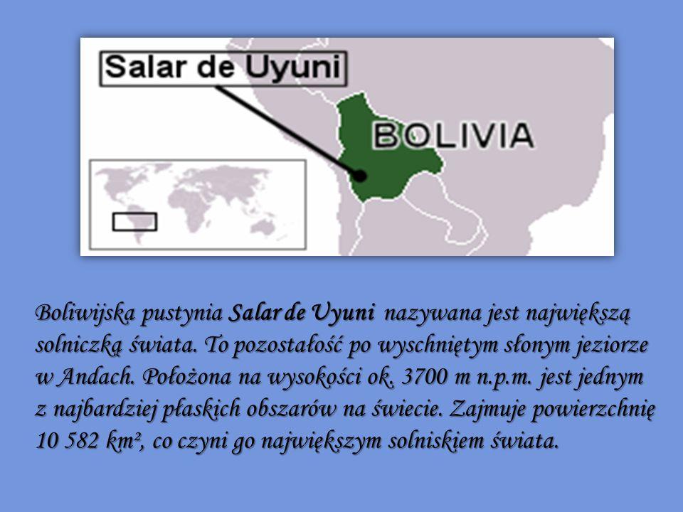 Boliwijska pustynia Salar de Uyuni nazywana jest największą solniczką świata.
