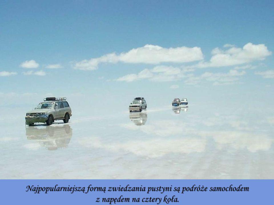 Najpopularniejszą formą zwiedzania pustyni są podróże samochodem z napędem na cztery koła.
