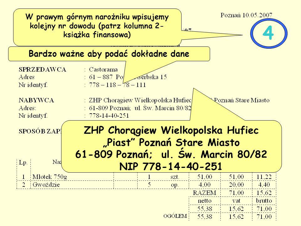 """Bardzo ważne aby podać dokładne dane ZHP Chorągiew Wielkopolska Hufiec """"Piast Poznań Stare Miasto 61-809 Poznań; ul."""
