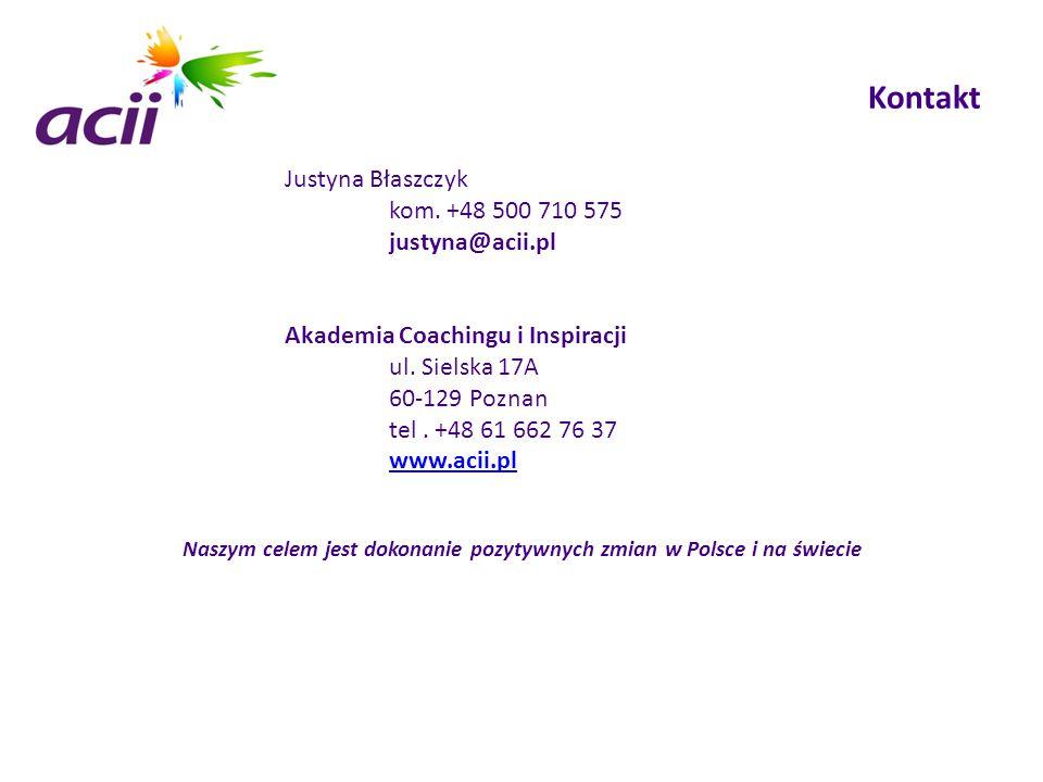 Kontakt Justyna Błaszczyk kom. +48 500 710 575 justyna@acii.pl Akademia Coachingu i Inspiracji ul. Sielska 17A 60-129 Poznan tel. +48 61 662 76 37 www