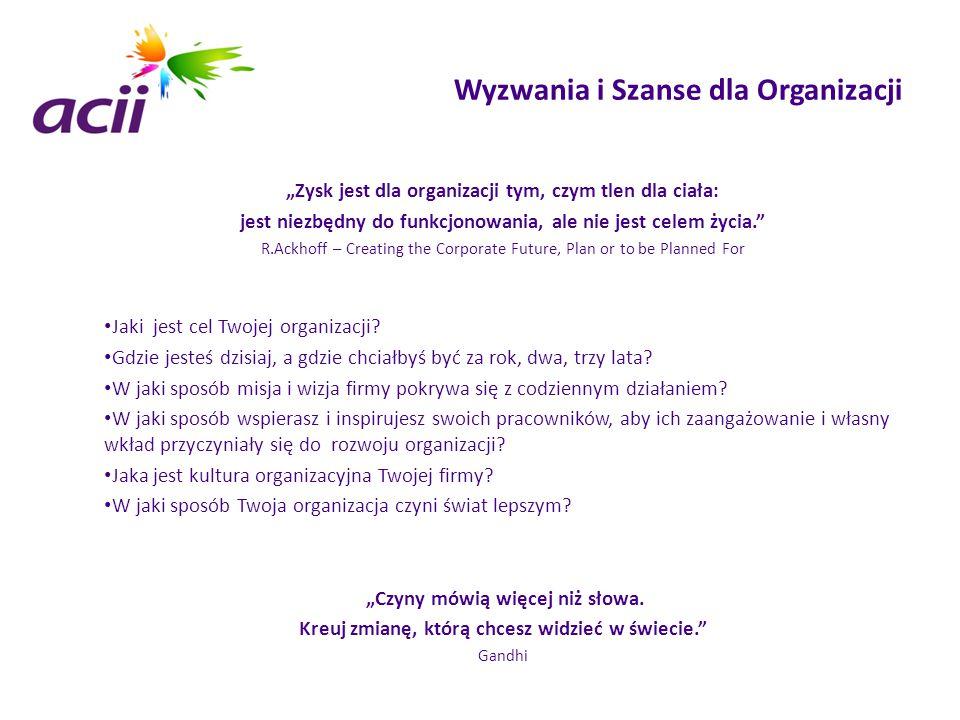 """Wyzwania i Szanse dla Organizacji """"Zysk jest dla organizacji tym, czym tlen dla ciała: jest niezbędny do funkcjonowania, ale nie jest celem życia."""" R."""