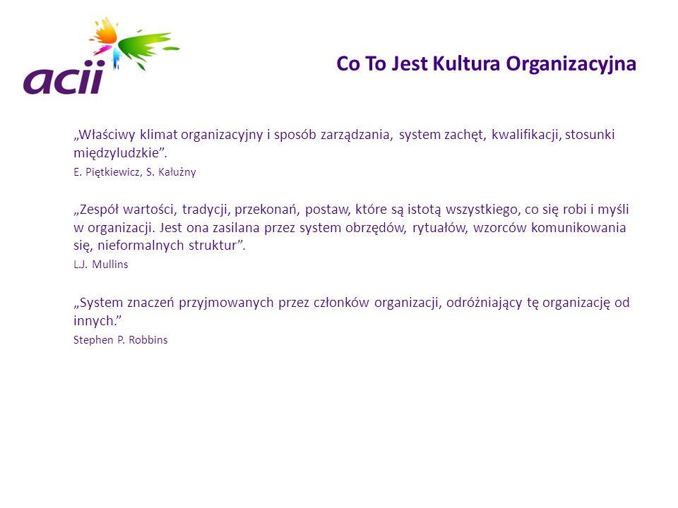 """Co To Jest Kultura Organizacyjna """"Właściwy klimat organizacyjny i sposób zarządzania, system zachęt, kwalifikacji, stosunki międzyludzkie"""". E. Piętkie"""