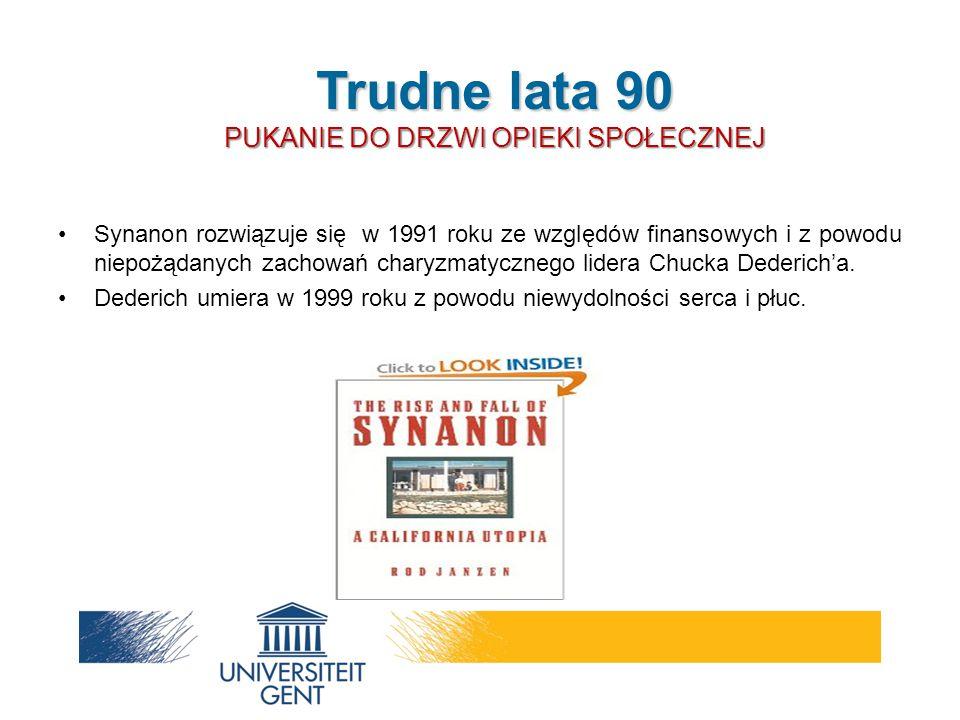 Synanon rozwiązuje się w 1991 roku ze względów finansowych i z powodu niepożądanych zachowań charyzmatycznego lidera Chucka Dederich'a. Dederich umier