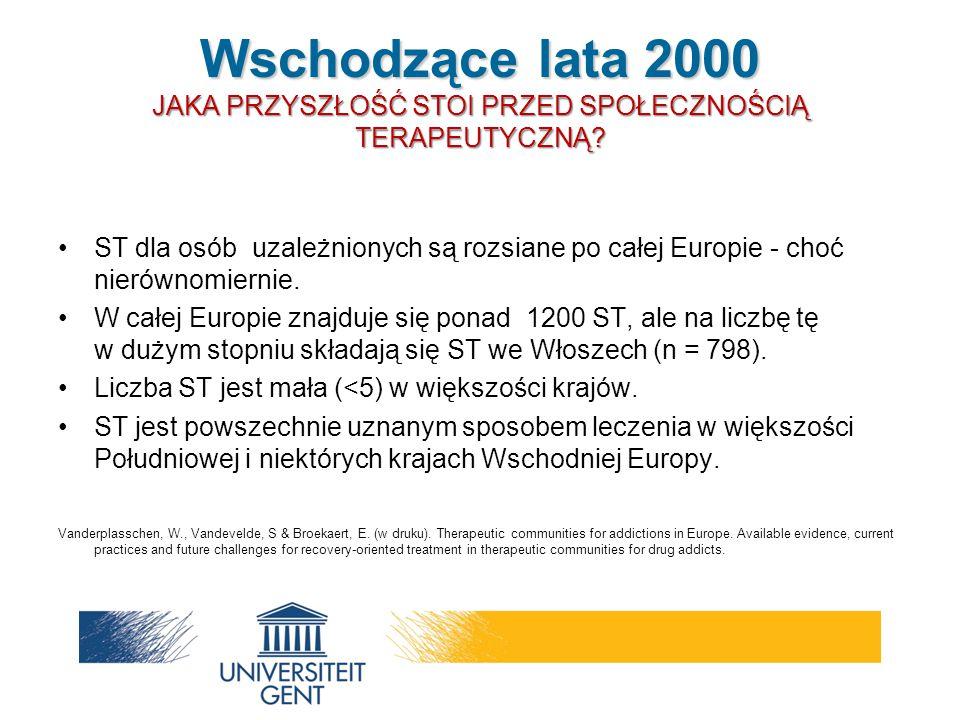 ST dla osób uzależnionych są rozsiane po całej Europie - choć nierównomiernie. W całej Europie znajduje się ponad 1200 ST, ale na liczbę tę w dużym st