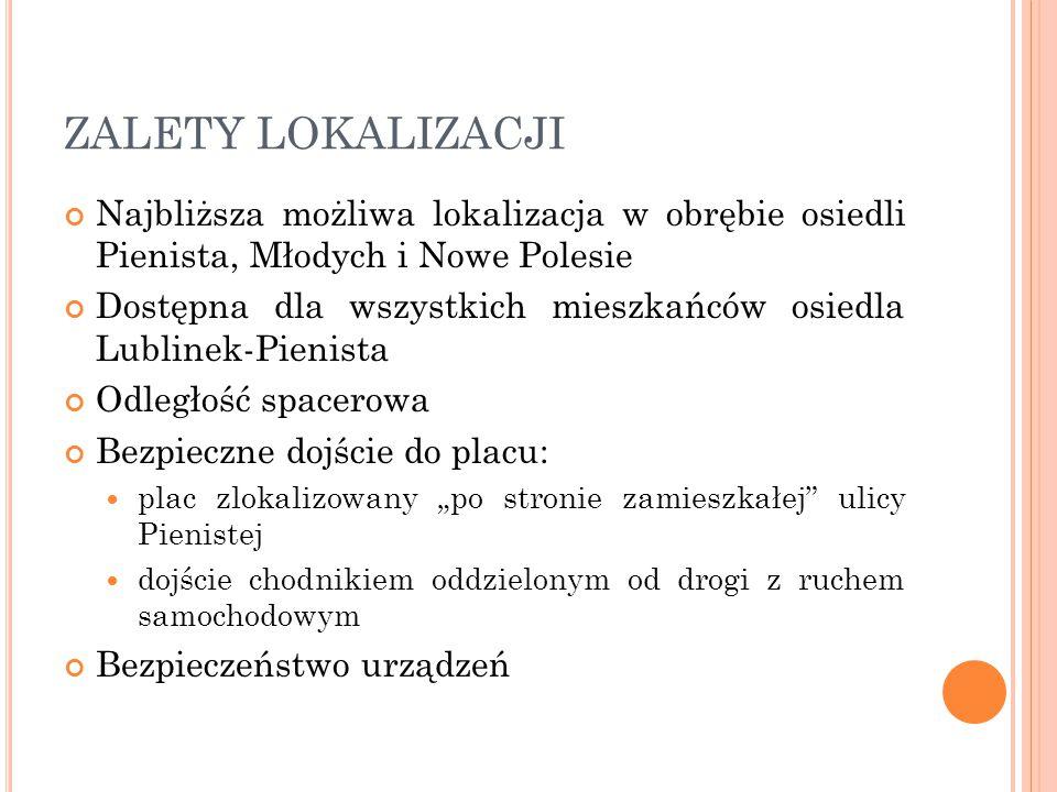 ZALETY LOKALIZACJI Najbliższa możliwa lokalizacja w obrębie osiedli Pienista, Młodych i Nowe Polesie Dostępna dla wszystkich mieszkańców osiedla Lubli