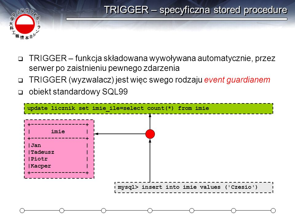  Funkcja tworząca losowego człowieka: (nazwisko) – 2/2 drop function if exists nazwisko; delimiter ;; CREATE FUNCTION nazwisko(sylaby int) RETURNS CHAR(50) BEGIN DECLARE ile_sylab INT default sylaby; DECLARE nazwisko char(50) default ; DECLARE temp char(5); while (ile_sylab>0) do select wartosc into temp from sylaba order by rand() limit 1; set nazwisko := concat(nazwisko,temp); set ile_sylab := ile_sylab - 1; end while; set nazwisko := concat(nazwisko, cki ); set nazwisko := concat(ucase(substring(nazwisko,1,1)),substring(nazwisko,2)); return nazwisko; END; ;; delimiter ;