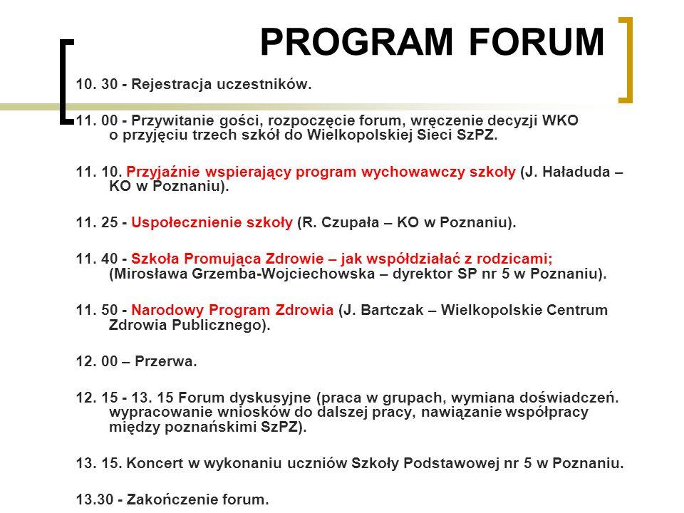 FORUM POZNAŃSKICH SZKÓŁ PROMUJĄCYCH ZDROWIE 2009 W Forum wzięło udział ponad 60 szkolnych koordynatorów SzPZ z rejonu Poznań.