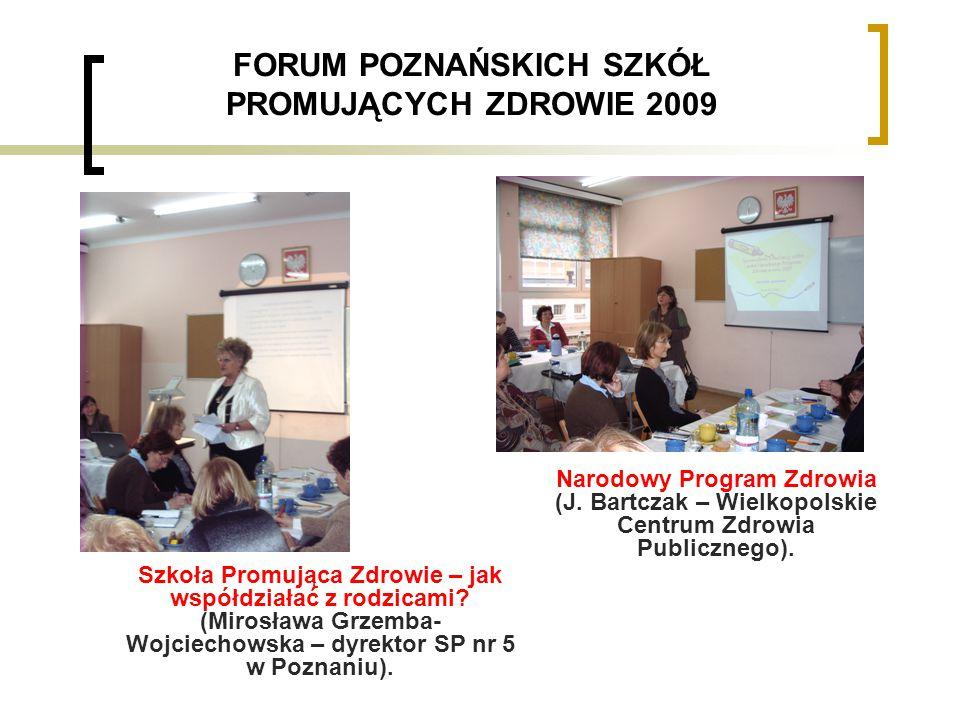 FORUM POZNAŃSKICH SZKÓŁ PROMUJĄCYCH ZDROWIE 2009 Szkoła Promująca Zdrowie – jak współdziałać z rodzicami.