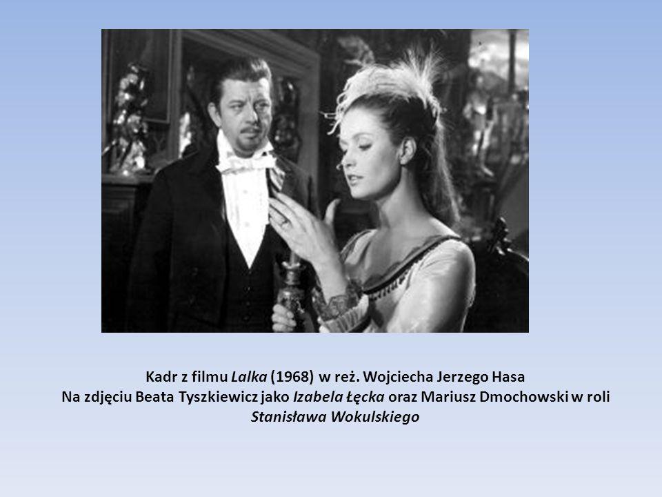 Kadr z filmu Lalka (1968) w reż. Wojciecha Jerzego Hasa Na zdjęciu Beata Tyszkiewicz jako Izabela Łęcka oraz Mariusz Dmochowski w roli Stanisława Woku