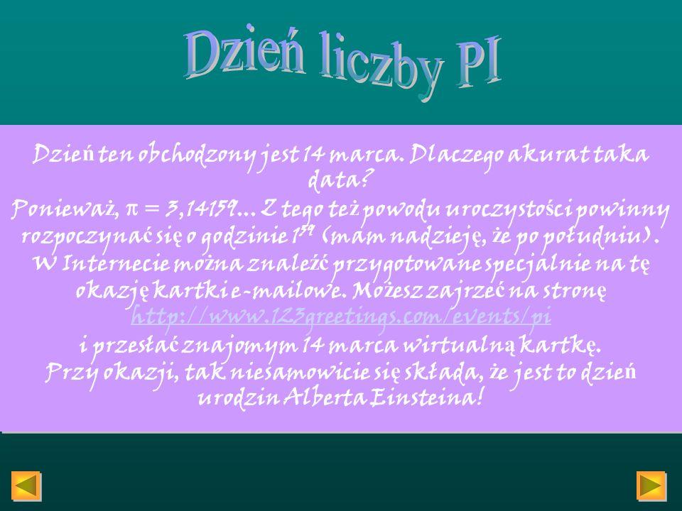 Jeśli wejdziesz na stronę http://www.facade.com/legacy/amiinpihttp://www.facade.com/legacy/amiinpi, dowiesz się, czy twoja data urodzenia jest częścią liczby π.