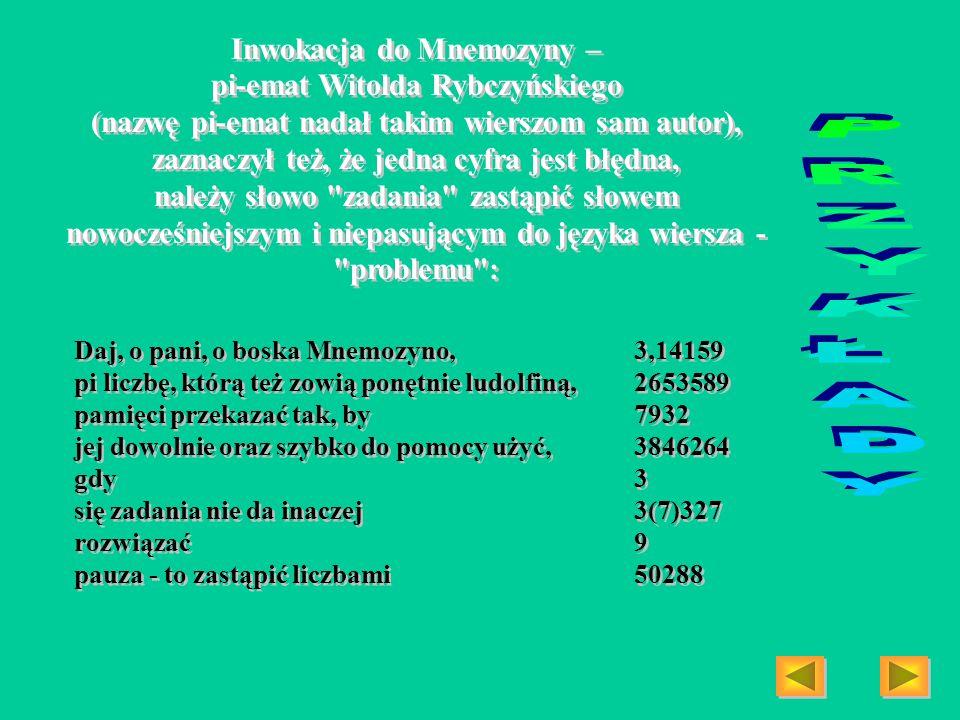 Inwokacja do Mnemozyny – pi-emat Witolda Rybczyńskiego (nazwę pi-emat nadał takim wierszom sam autor), zaznaczył też, że jedna cyfra jest błędna, nale