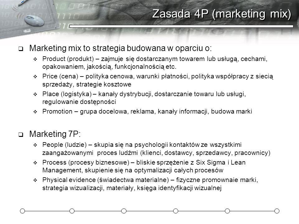 Zasada 4P (marketing mix)  Marketing mix to strategia budowana w oparciu o:  Product (produkt) – zajmuje się dostarczanym towarem lub usługą, cechami, opakowaniem, jakością, funkcjonalnością etc.