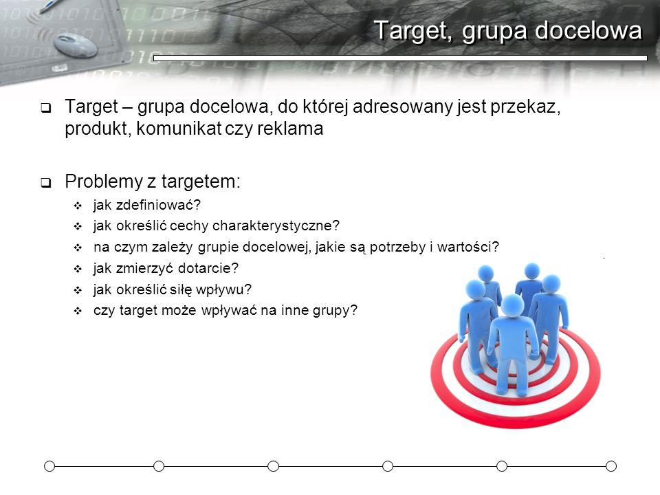 Target, grupa docelowa  Target – grupa docelowa, do której adresowany jest przekaz, produkt, komunikat czy reklama  Problemy z targetem:  jak zdefiniować.
