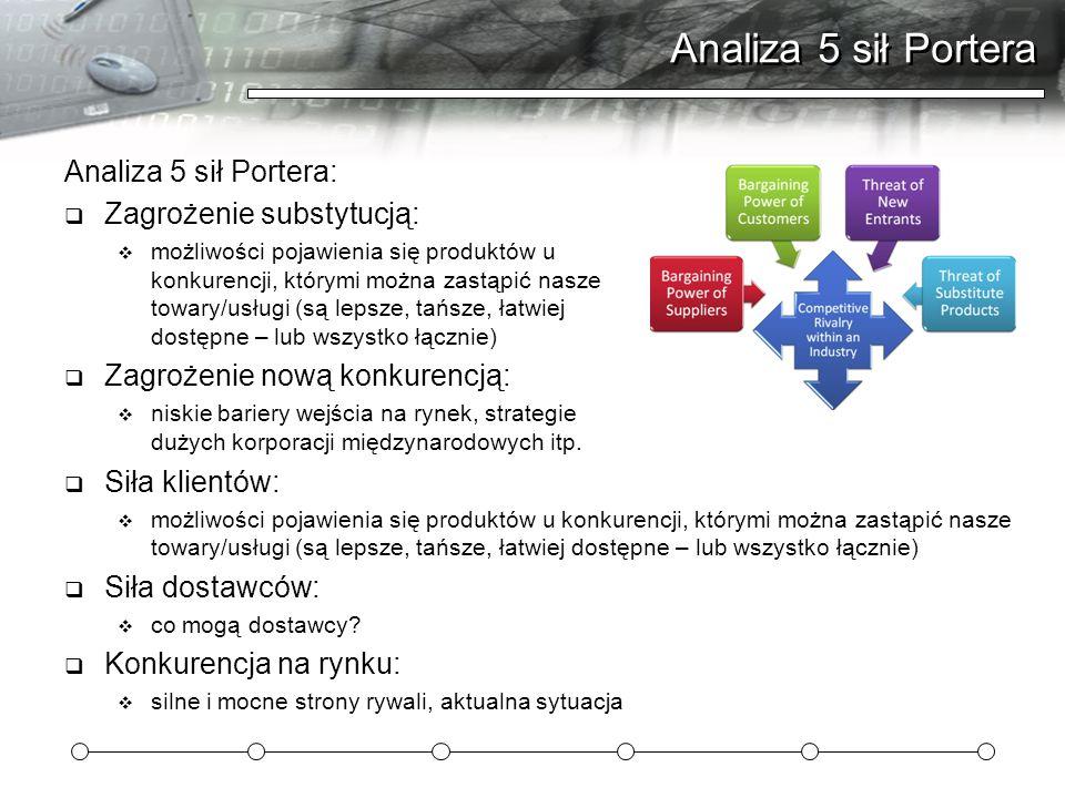 Analiza 5 sił Portera Analiza 5 sił Portera:  Zagrożenie substytucją:  możliwości pojawienia się produktów u konkurencji, którymi można zastąpić nasze towary/usługi (są lepsze, tańsze, łatwiej dostępne – lub wszystko łącznie)  Zagrożenie nową konkurencją:  niskie bariery wejścia na rynek, strategie dużych korporacji międzynarodowych itp.