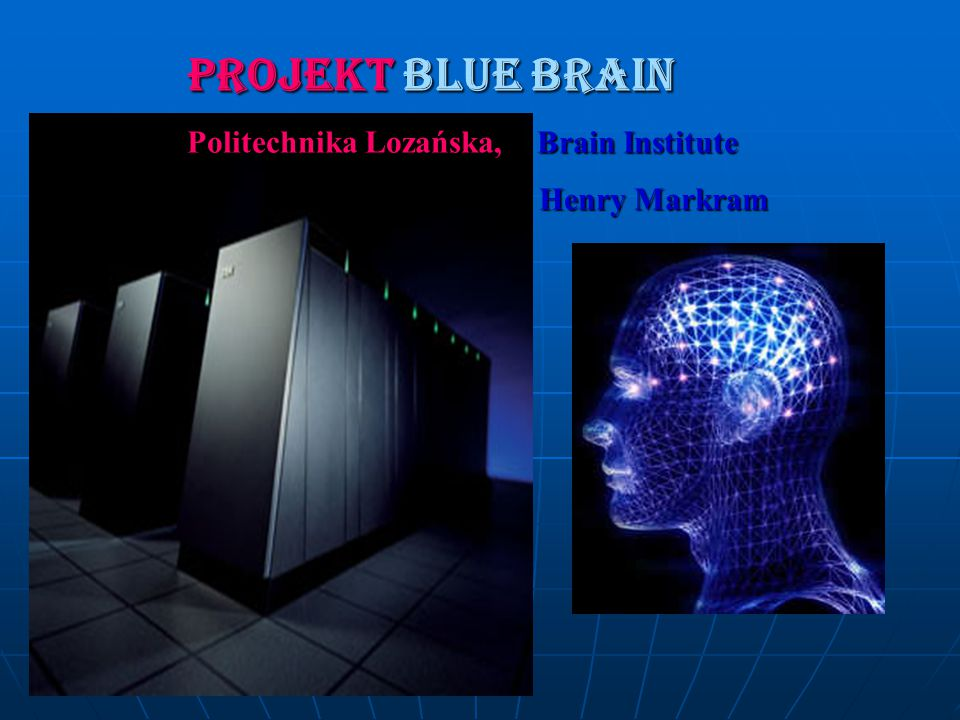 PROJEKT BLUE BRAIN Politechnika Lozańska, Brain Institute Henry Markram Henry Markram
