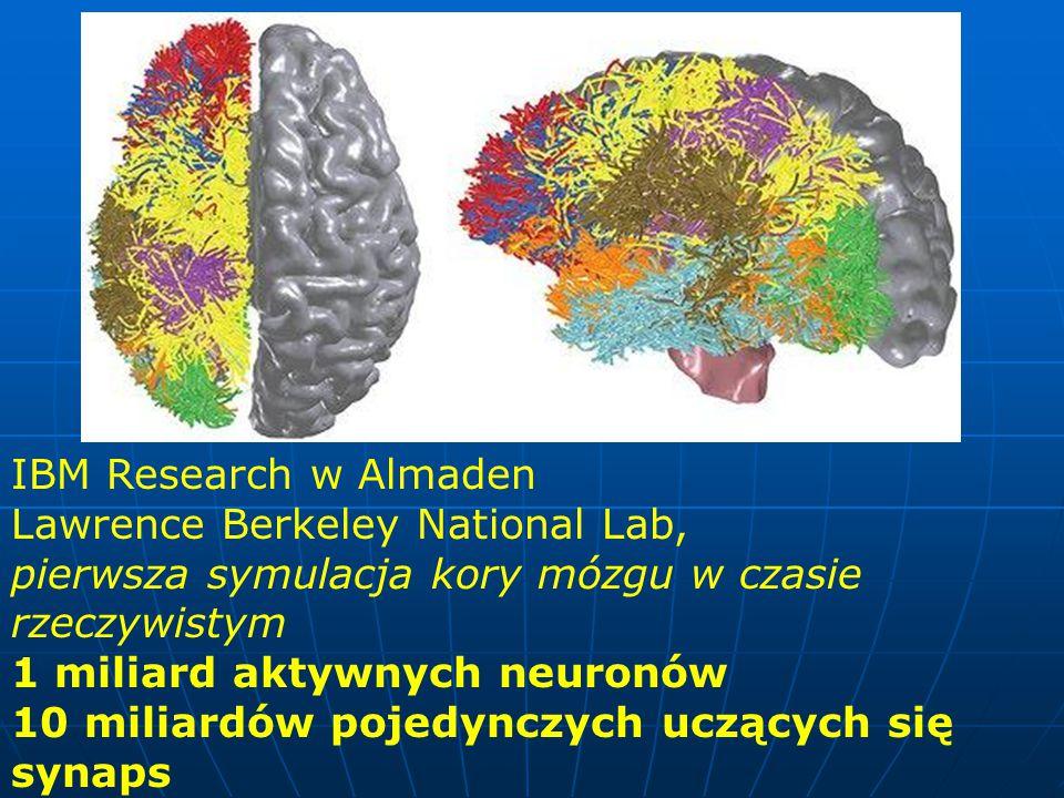 IBM Research w Almaden Lawrence Berkeley National Lab, pierwsza symulacja kory mózgu w czasie rzeczywistym 1 miliard aktywnych neuronów 10 miliardów pojedynczych uczących się synaps