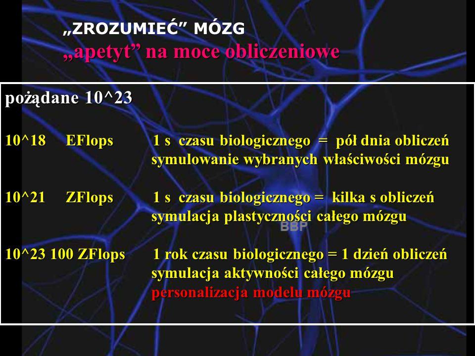 """""""ZROZUMIEĆ MÓZG """"apetyt na moce obliczeniowe pożądane 10^23 10^18 EFlops 1 s czasu biologicznego = pół dnia obliczeń symulowanie wybranych właściwości mózgu symulowanie wybranych właściwości mózgu 10^21 ZFlops 1 s czasu biologicznego = kilka s obliczeń symulacja plastyczności całego mózgu symulacja plastyczności całego mózgu 10^23 100 ZFlops 1 rok czasu biologicznego = 1 dzień obliczeń symulacja aktywności całego mózgu symulacja aktywności całego mózgu personalizacja modelu mózgu personalizacja modelu mózgu"""