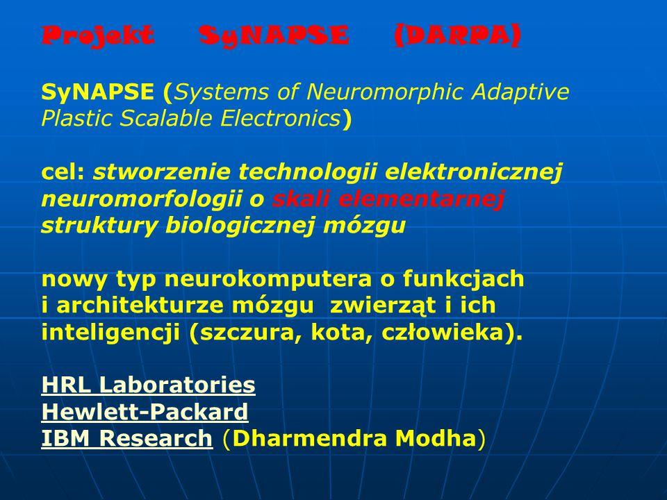 Projekt SyNAPSE (DARPA) SyNAPSE (Systems of Neuromorphic Adaptive Plastic Scalable Electronics) cel: stworzenie technologii elektronicznej neuromorfologii o skali elementarnej struktury biologicznej mózgu nowy typ neurokomputera o funkcjach i architekturze mózgu zwierząt i ich inteligencji (szczura, kota, człowieka).