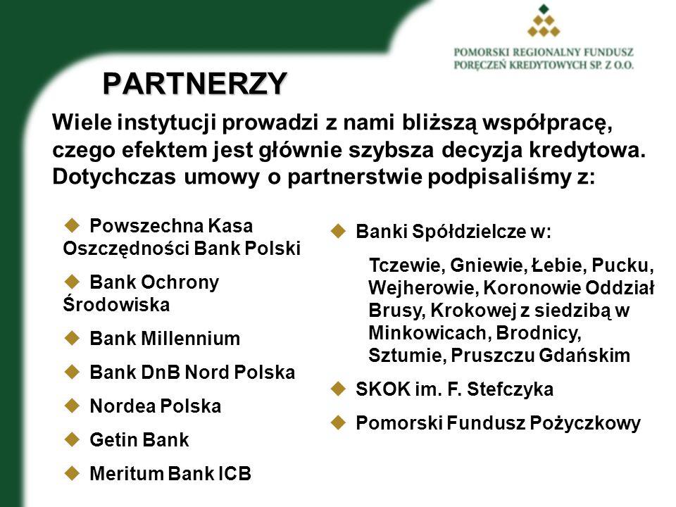 PARTNERZY Wiele instytucji prowadzi z nami bliższą współpracę, czego efektem jest głównie szybsza decyzja kredytowa.