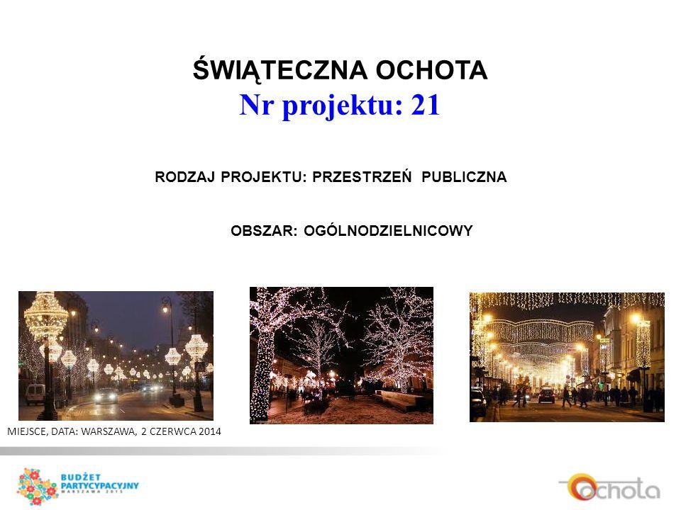 ŚWIĄTECZNA OCHOTA Nr projektu: 21 MIEJSCE, DATA: WARSZAWA, 2 CZERWCA 2014 RODZAJ PROJEKTU: PRZESTRZEŃ PUBLICZNA OBSZAR: OGÓLNODZIELNICOWY
