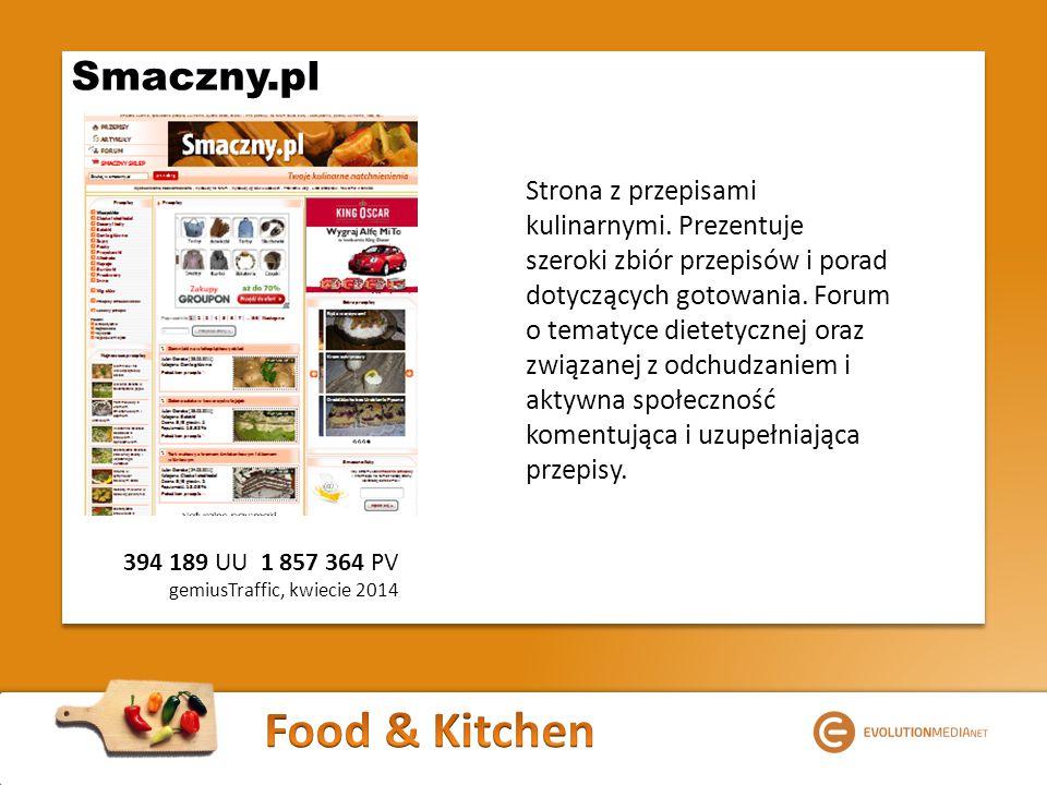 394 189 UU 1 857 364 PV gemiusTraffic, kwiecie 2014 Smaczny.pl Strona z przepisami kulinarnymi.