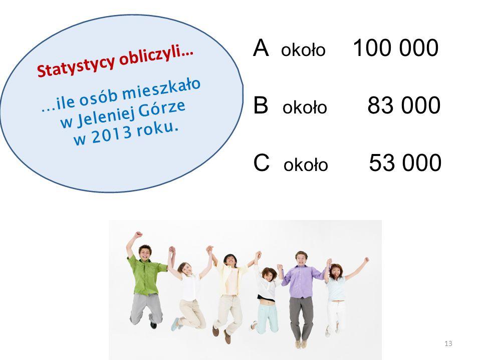 Statystycy obliczyli… …ile osób mieszkało w Jeleniej Górze w 2013 roku. 13 A około 100 000 B około 83 000 C około 53 000