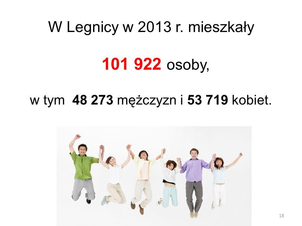 18 W Legnicy w 2013 r. mieszkały 101 922 osoby, w tym 48 273 mężczyzn i 53 719 kobiet.